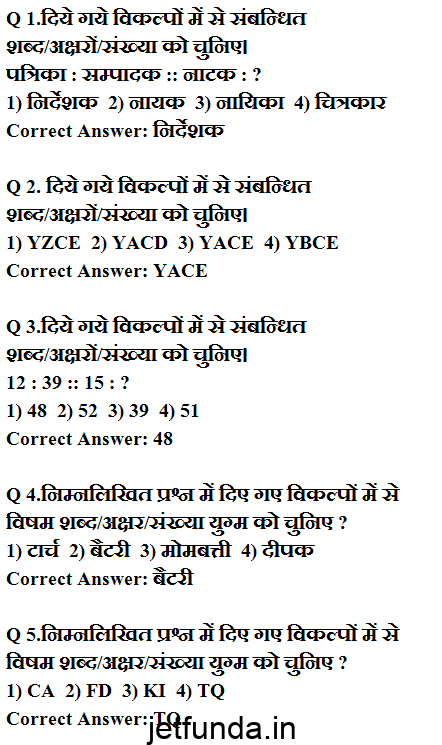 JET exam , JET Exam sample paper