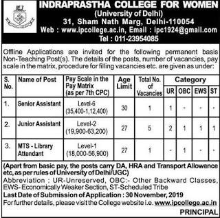 Indraprastha College for Women DU Recruitment 2019