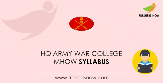 HQ Army War College MHOW Syllabus