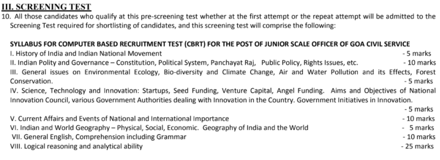 Goa PSC Screening Test Pattern