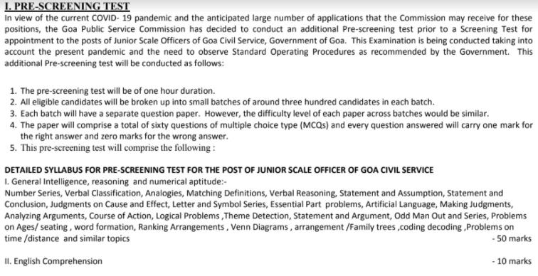 Goa PSC Pre Screening Test Exam Pattern